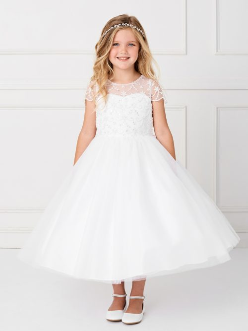 Holy Communion Dress with Beaded Cap Sleeves