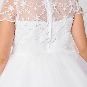 New Style Beaded Tulle First Communion Dress Sheer Back