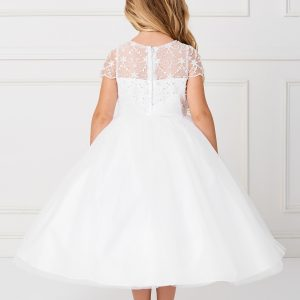 New Style Beaded Tulle First Communion Dress Sheer Neckline