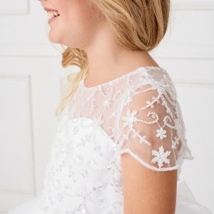 New Style Beaded Tulle First Communion Dress with Short Sleeves