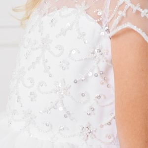 New Style Beaded Tulle First Communion Dress with Sleeves