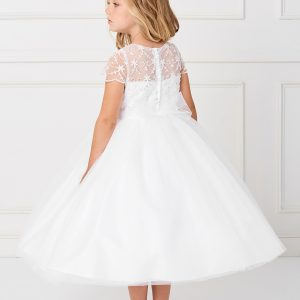 New Style Beaded Tulle White First Communion Dress