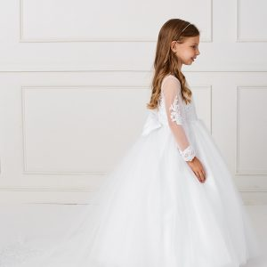 New Style Beautiful Floor Length First Communion Gown with Detachable Train