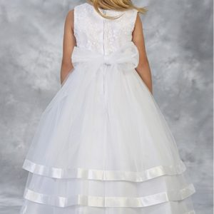 New Style First Communion Dress with Layered Skirt Satin Trim