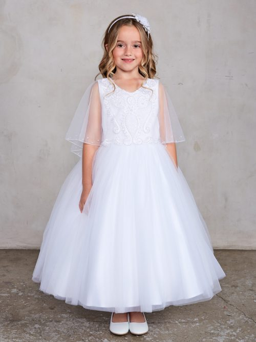 Holy Communion Dress Beaded Lace Bodice with attached Cape