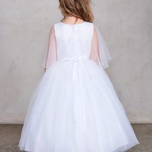 New Style First Communion Dress with Organza Cape Back
