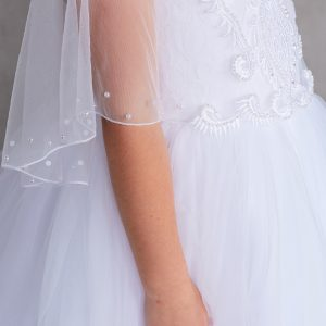 New Style First Communion Dress with Organza Cape to Cover Shoulders
