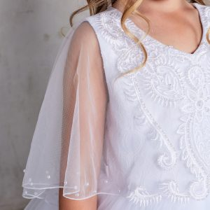 New Style First Communion Dress with Sheer Organza Cape
