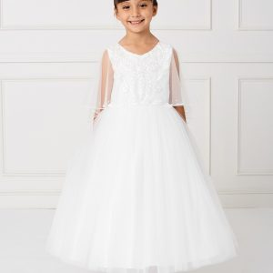 New Style Ivory First Communion Dress with Organza Cape to Cover Shoulders