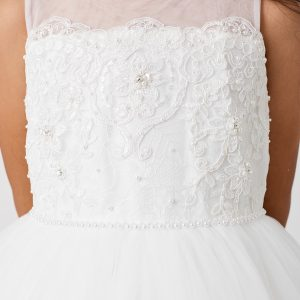 New Style Lace First Communion Dress with Mesh