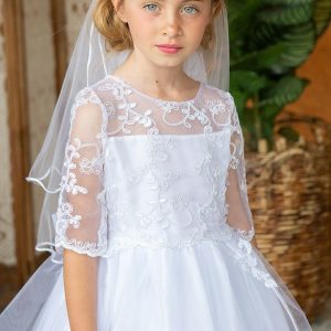 New Style Lace Top with sleevesFull Length First Communion Dress