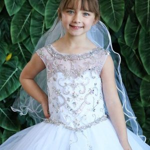 New Style Long Length First Communion Gown with Intricate Beading