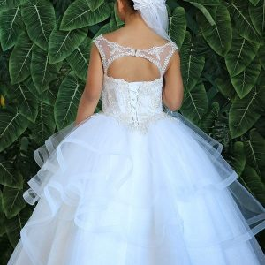 New Style Long Length First Communion Gown with Layered Organza Skirt and Beaded Bodice