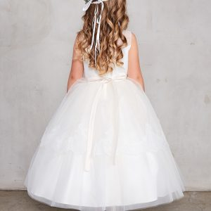 New Style Tea Length White Lace Organza First Communion Dress