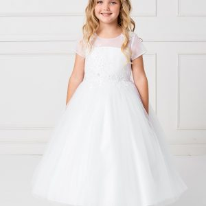 Plus Size Cap Sleeved Illusion Neckline First Communion Dress with Lace Applique