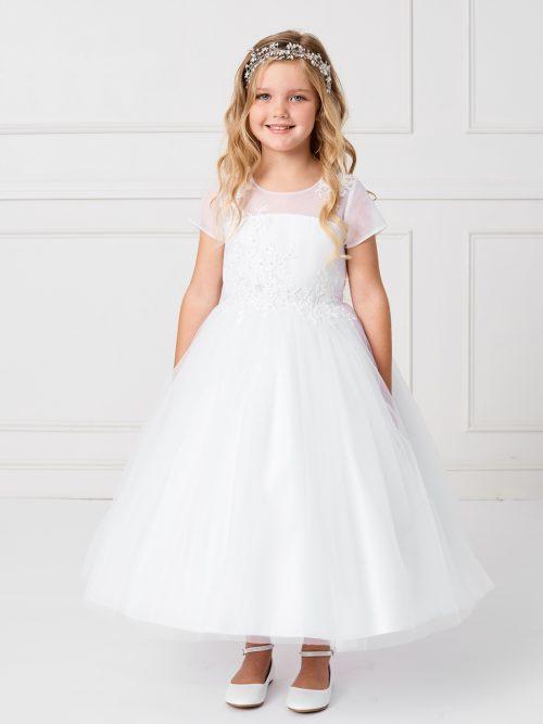 Plus Size Cap Sleeved Illusion Neckline First Communion Dress with Lace Applique