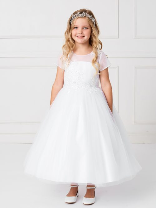 Mesh Illusion Cap Sleeved Neckline First Communion Dress with Lace Applique