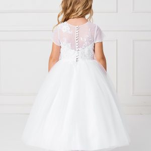 Plus Size Ankle Length First Communion Dress with Lace Sleeves Back
