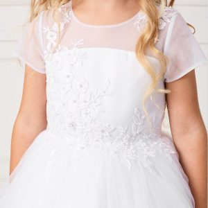 Plus Size Ankle Length First Communion Dress with Short Sleeves