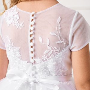 Plus Size Ankle Length Girls First Communion Dress with Lace Sleeves