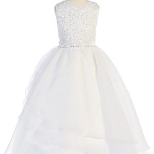 Beautiful Plus Size First Communion Dress with Embroidered Applique & Organza