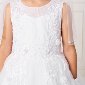 Pretty Ankle Length Lace Mesh Bodice First Communion Dress for 2020