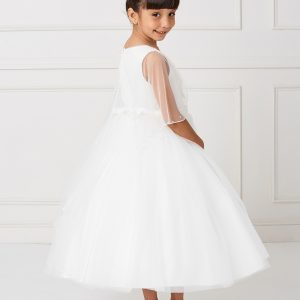 Pretty Ivory New Style First Communion Dress with Organza Cape to Cover Shoulders