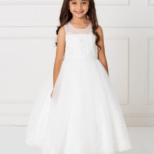 Pretty Lace First Communion Dress with Mesh