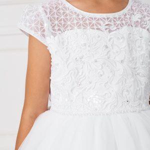Pretty Lace Satin Mesh Cap Sleeves First Communion Dress