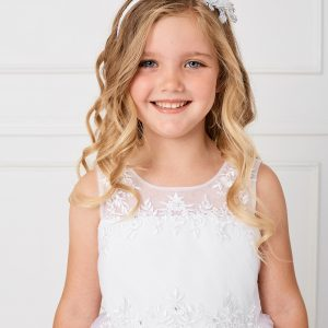 Pretty Modern Ankle Length First Communion Dress with Lace Satin and Mesh