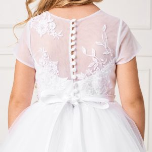 Pretty Plus Size Ankle Length First Communion Dress with Lace Sleeves
