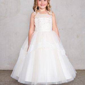 Pretty Tea Length White Lace Organza First Communion Dress