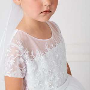 Pretty White Lace Satin and Mesh First Communion Dress with Short Sleeves