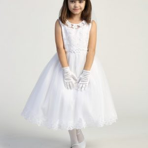 Pretty first communion dress Embroidered tulle bodice with flower appliques