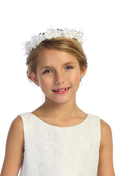 Rhinestone Crystal Flower First Communion Crown Headpiece