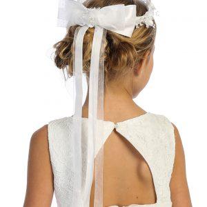 Rhinestone Crystal Flower First Communion Crown Headpiece with Bow