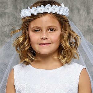 Rhinestone Flower Crown Holy Communion Veil