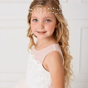 Rhinestone and Pearl Wire First Communion Headpiece with Satin Tie Back