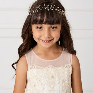 SImple Gold Crystal Spray First Communion Hairband