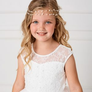 SImple Gold Crystal and Pearl Spray First Communion Hairband