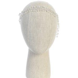 SImple Silver Crystal Spray First Communion Hairband