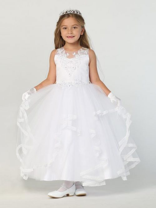 New Style First Communion Dress with Ruffled Tulle Skirt for 2020