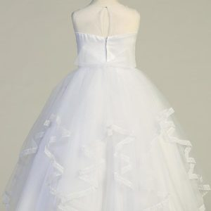 Girls First Communion Dress with Ruffled Tulle Skirt