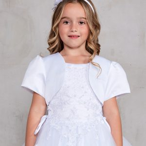 Plus Size Satin and Tulle First Communion Dress with Satin Bolero