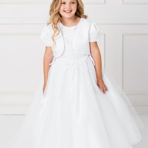 Plus Size Satin and Tulle First Communion Dress with Side Ties