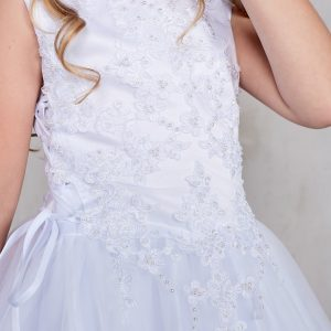 Plus Size Satin and Tulle First Communion Dress with Side Ties Bodice