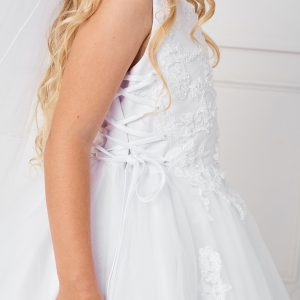 Plus SIze Satin and Tulle First Communion Dress with Side Ties Close