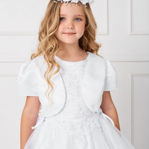 Plus Size Satin and Tulle First Communion Dress with Side Ties with Satin Jacket