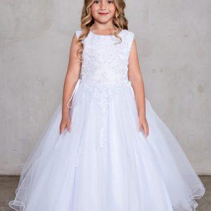 Plus Size Satin Bodice with Lace Applique First Communion Dress