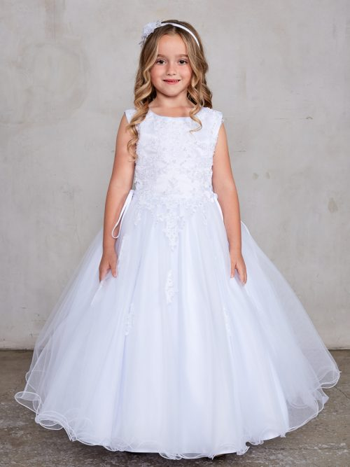 Plus Size Satin Bodice with Lace Applique First Communion Dress